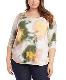 Plus Size Tie-Dyed 3/4-Sleeve Top