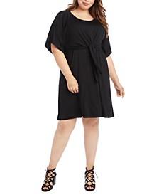 Plus Size Tie-Front A-Line Dress