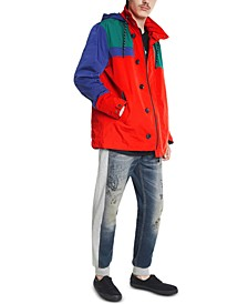 Men's Colorblocked Off-Center Hooded Jacket