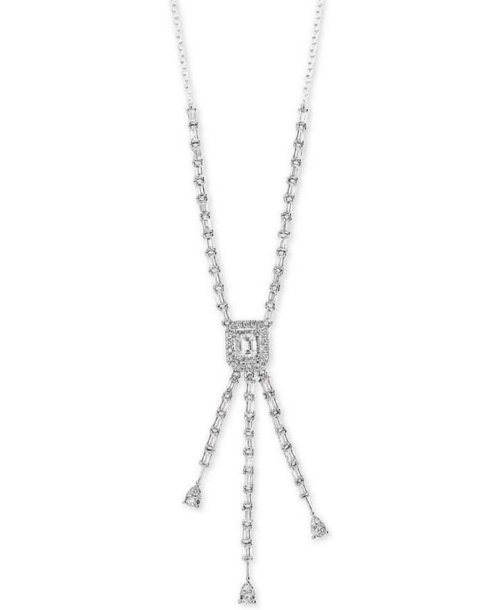"""EFFY Collection - Diamond 16"""" Lariat Necklace (1-1/10 ct. t.w.) in 14k White Gold"""
