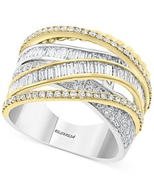 EFFY® Diamond Baguette Crossover Statement Ring (1-1/3 ct. t.w.) in 14k Gold & White Gold