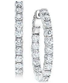 Diamond Small In & Out Hoop Earrings (5 ct. t.w.) in 14k White Gold, 1""