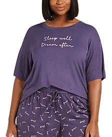 Plus-Size Ultra Soft Core Printed Short Sleeve Pajama Shirt