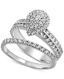 Diamond Teardrop Cluster Bridal Set (3/4 ct. t.w.) in 14k White Gold