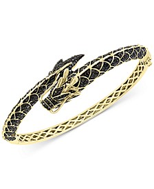 EFFY® Black Diamond (2-5/8 ct. t.w.) & Tsavorite (1/20 ct. t.w.) Dragon Bangle Bracelet in 14k Gold