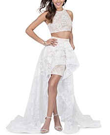 Juniors' Two-Piece Studded-Top & Organza-Skirt Gown