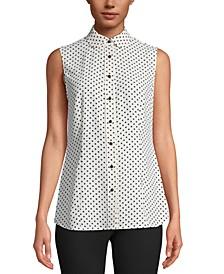 Dot-Print Peter-Pan-Collar Blouse