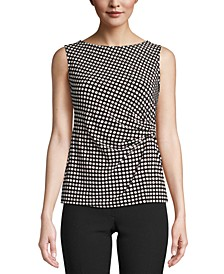 Flapper-Print Pleated Top