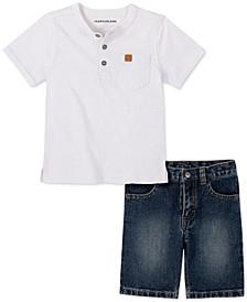Toddler Boys 2-Pc. Textured Henley & Denim Shorts Set