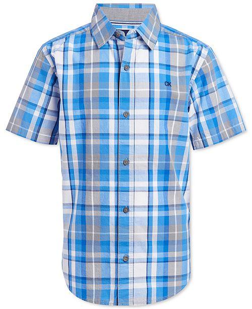 Calvin Klein Big Boys Madras Plaid Shirt