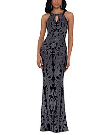 Glitter-Print Gown