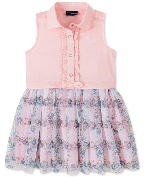 Calvin Klein Toddler Girls Mesh-Skirt Shirtdress