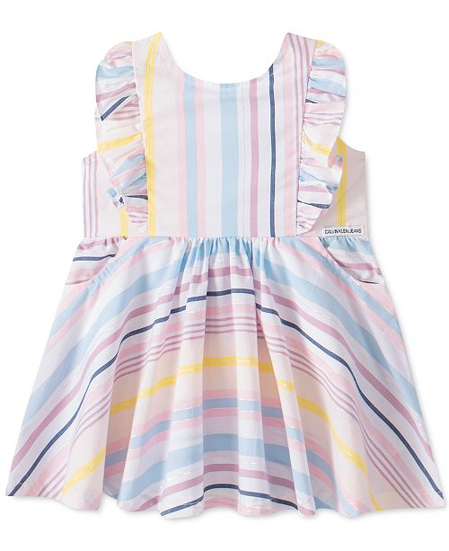 Calvin Klein Little Girls Cotton Striped Dress