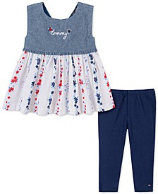 Toddler Girls 2-Pc. Mixed Media Tunic & Leggings Set