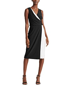 Two-Tone Surplice Jersey Dress