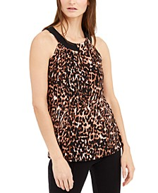 INC Petite Cat-Print Keyhole-Neck Top, Created for Macy's