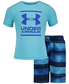 Under Armour Toddler & Little Boys 2-Pc. Stripe Volley Rash Guard & Swim Trunks Set