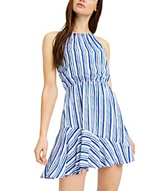Juniors' Striped Ruffled A-Line Dress