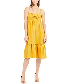INC Twist-Front Linen-Blend Midi Dress, Created For Macy's
