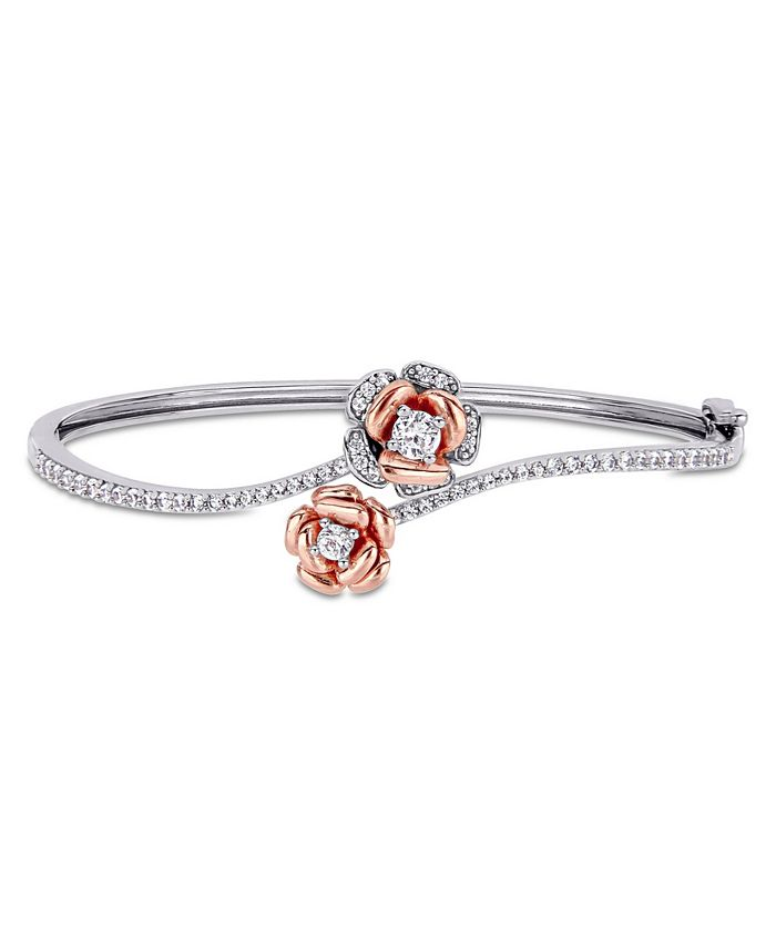 Macy's - Created White Sapphire (1 1/2 ct. t.w.) Rose Swirl Bangle in Two-Tone Sterling Silver