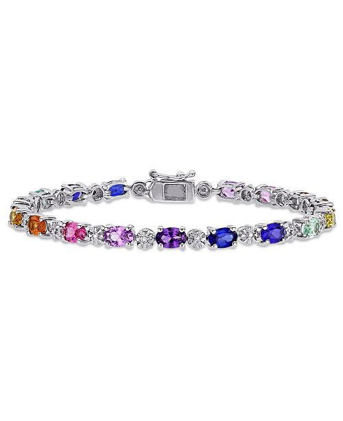 Macy's Multi-Color Created Sapphire (9 7/8 ct. t.w.) and Diamond-Accent Tennis Bracelet in Sterling Silver