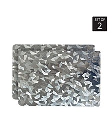 Reversible Shimmering Metallic Leaf Dining Table Indoor Outdoor Placemats -Set of 2