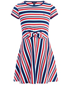 Big Girls Striped Tie-Front Dress