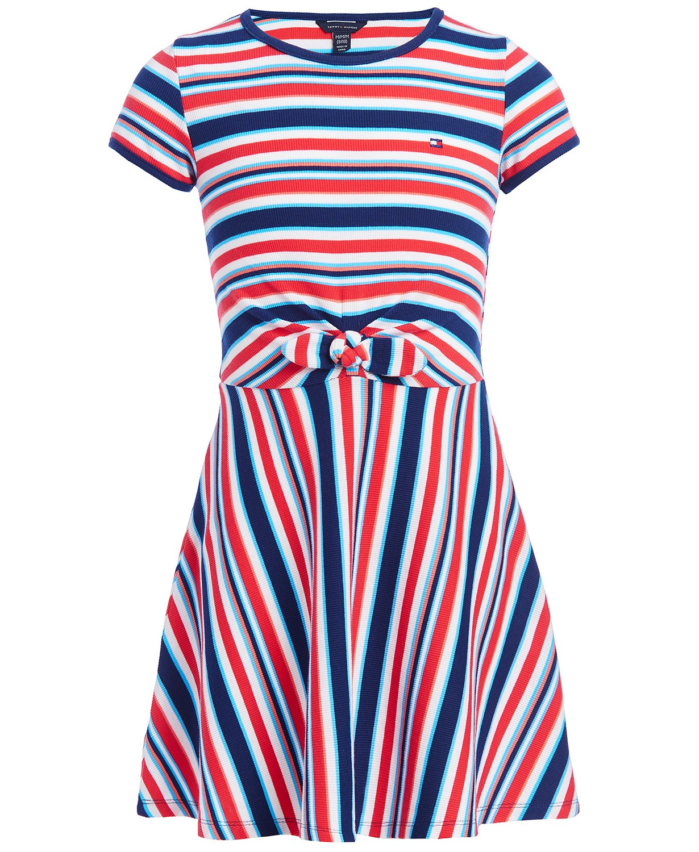 Tommy Hilfiger Big Girls Striped Tie-Front Dress