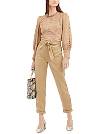 INC Eyelet High-Neck Top & Slouchy Tie-Front Utility Pants, Created for Macy's