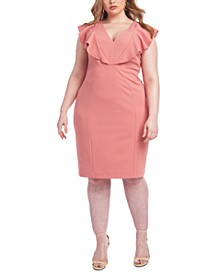 Trendy Plus Size Sleeveless Ruffle Front Dress
