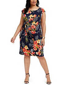 Plus Size Tropical-Print Side-Ruched Sheath Dress