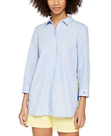 Mixed-Print Pleated-Back Shirt
