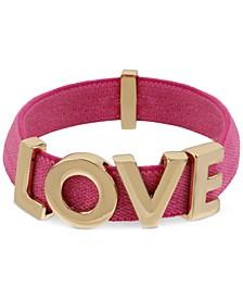 Gold-Tone Love Fabric Stretch Bracelet