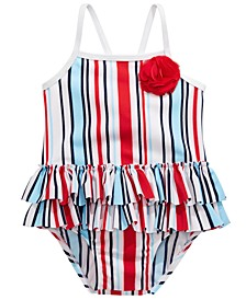Baby Girls 1-Pc. Red, White & Blue Striped Swimsuit, Created for Macy's