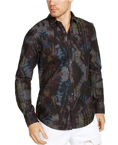 INC International Concepts INC Men's Tie Dye Button-Front Shirt, Created for Macy's