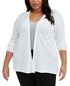 Plus Size Stitched Open-Front Cardigan
