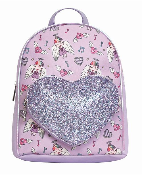 OMG! Accessories Toddler, Little and Big Kids Angelina Printed Mini Backpack with Glitter Heart Pocket