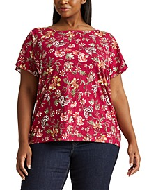 Plus-Size Floral Flutter-Sleeve T-Shirt