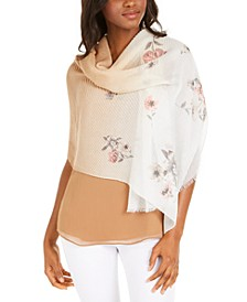 INC Ombré Pleated Floral Wrap, Created for Macy's