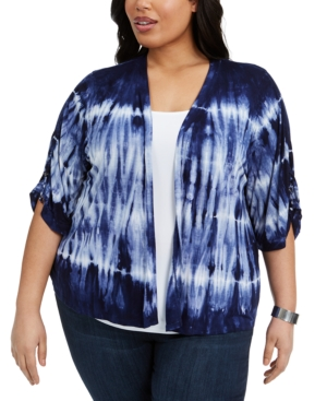 Belldini PLUS SIZE TIE-DYED DRAWSTRING-SLEEVE TOP