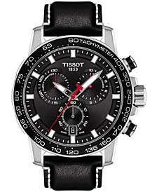 Men's Swiss Chronograph Supersport T-Sport Black Leather Strap Watch 46mm