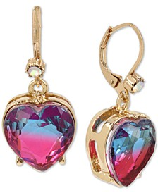 Gold-Tone Ombre Stone Heart Drop Earrings