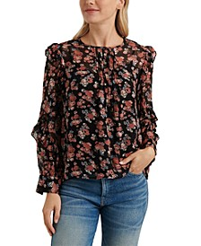 Georgette Ruffled Floral-Print Top
