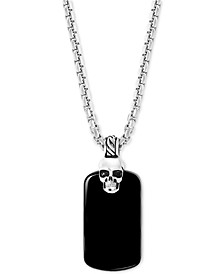 "EFFY® Men's Onyx Skull Dog Tag 22"" Pendant Necklace in Sterling Silver"