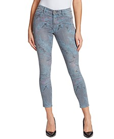 Christina Marie Mid-Rise Marble Printed Skinny Jeans