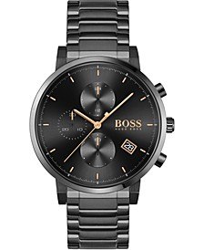Men's Chronograph Integrity Black Stainless Steel Bracelet Watch 43mm
