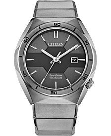Men's Armor Eco-Drive Silver-Tone Titanium Bracelet Watch 41mm