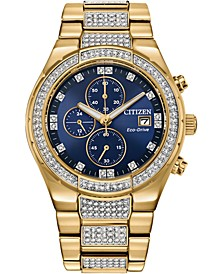 Men's Chronograph Eco-Drive Crystal Gold-Tone Stainless Steel Bracelet Watch 42mm