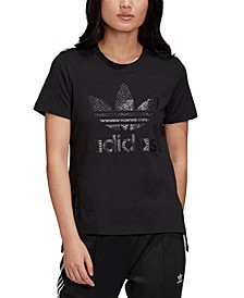 Women's Cotton Printed-Logo T-Shirt