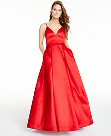 Juniors' V-Neck Ball Gown